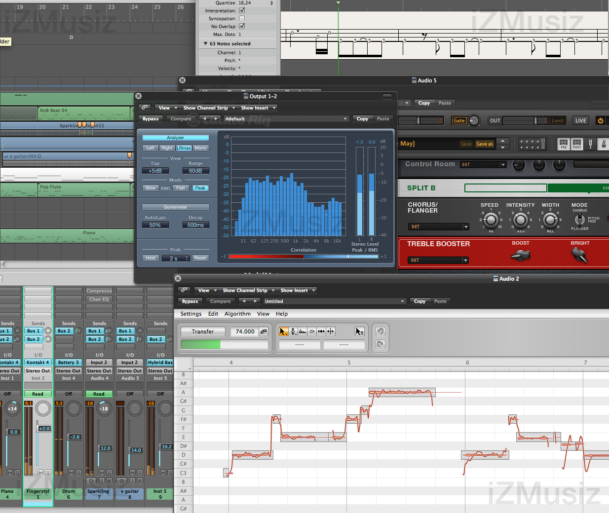 logic studio 9 with arrange and mixing windows, bass guitar tab score, guitar rig, fft meter, lead vocal pitch and timing editing